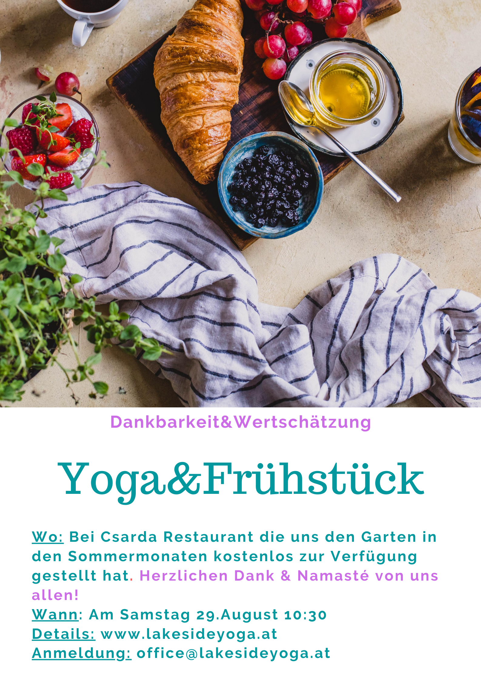 Yoga&Frühstück 29. August 10h30